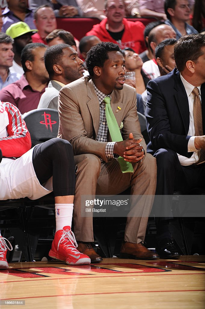 <a gi-track='captionPersonalityLinkClicked' href=/galleries/search?phrase=Patrick+Beverley&family=editorial&specificpeople=4144993 ng-click='$event.stopPropagation()'>Patrick Beverley</a> #2 of the Houston Rockets watches the game against the Dallas Mavericks on November 1, 2013 at the Toyota Center in Houston, Texas.