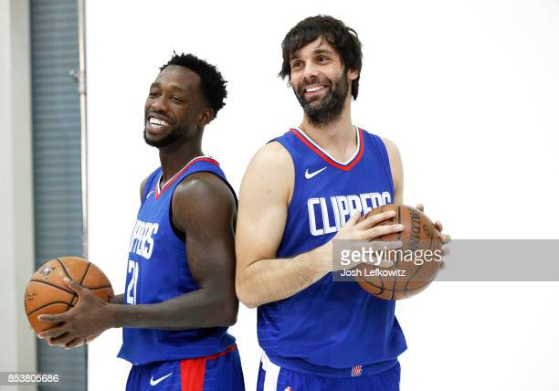 Patrick Beverly and Milos Teodosic of the Los Angeles Clippers pose for a photo during media day at the Los Angeles Clippers Training Center on...