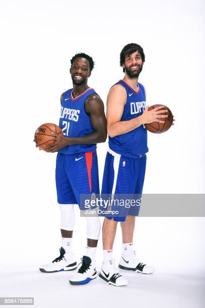 Patrick Beverly and Milos Teodosic of the Los Angeles Clippers poses for a portrait during the 201718 NBA Media Day at the Los Angeles Clippers...