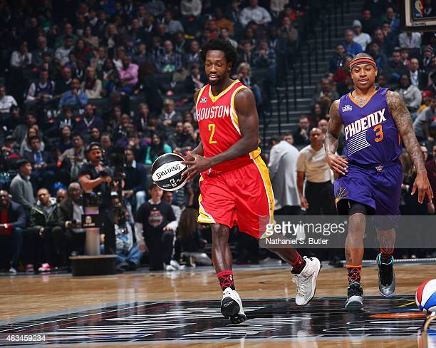 Patrick Beverly of the Houston Rockets during the Taco Bell Skills Challenge on State Farm AllStar Saturday Night as part of the 2015 NBA AllStar...
