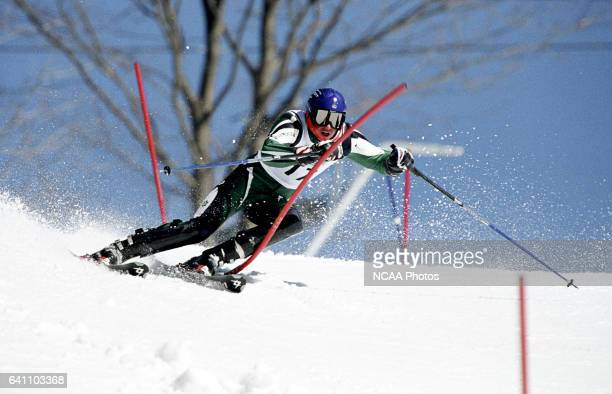 Patrick Biggs of Dartmouth College races to a fourth place finish in the men's slalom during the Division 1 Men's Skiing Championship held at the...