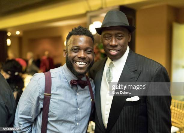 Patrick 'Blake' Leeper and Olympic Gold Medalist Al Joyner attend The Thalians Hollywood for Mental Health Holiday Party 2017 at the Bel Air Country...