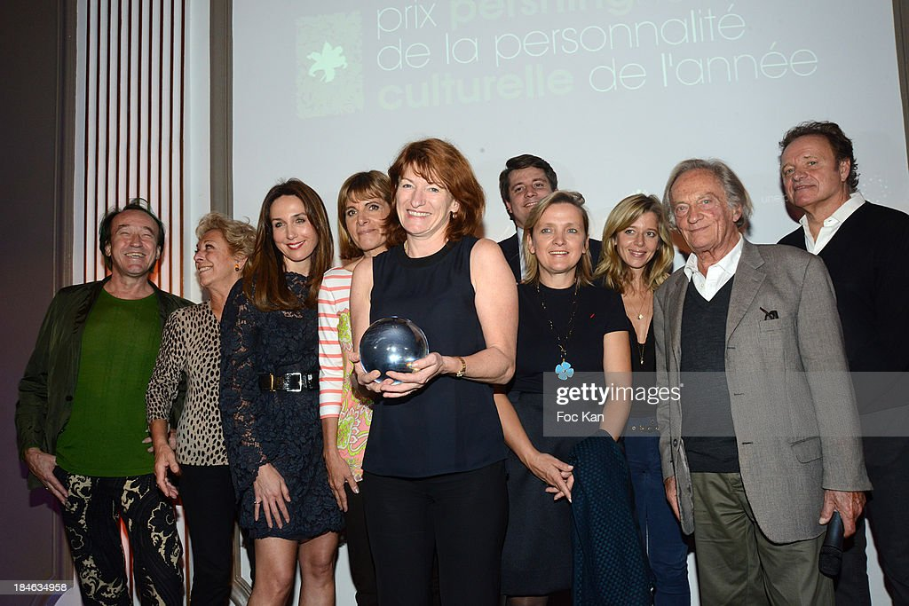 Patrick Blanc, Anne de La Baume, <a gi-track='captionPersonalityLinkClicked' href=/galleries/search?phrase=Elsa+Zylberstein&family=editorial&specificpeople=213054 ng-click='$event.stopPropagation()'>Elsa Zylberstein</a>, <a gi-track='captionPersonalityLinkClicked' href=/galleries/search?phrase=Anne+Lauvergeon&family=editorial&specificpeople=593162 ng-click='$event.stopPropagation()'>Anne Lauvergeon</a>, Muriel Mayette, a guest, Alexandre Duval-Stalla, (B), Wendy Bouchard, Philippe Tesson and <a gi-track='captionPersonalityLinkClicked' href=/galleries/search?phrase=Guillaume+Durand&family=editorial&specificpeople=2247272 ng-click='$event.stopPropagation()'>Guillaume Durand</a> attend the 'Pershing Hall Prize', Prize Of The Cultural Personality Of The Year, at the Pershing Hall Hotel on October 14, 2013 in Paris, France.