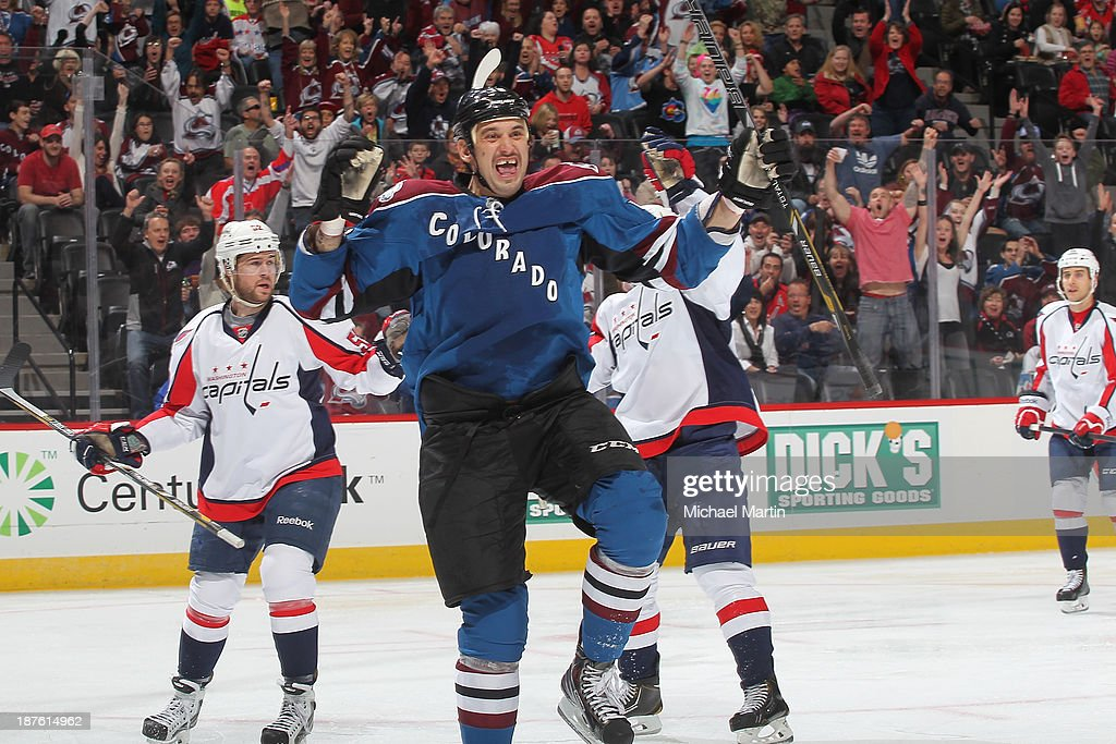 <a gi-track='captionPersonalityLinkClicked' href=/galleries/search?phrase=Patrick+Bordeleau&family=editorial&specificpeople=2282247 ng-click='$event.stopPropagation()'>Patrick Bordeleau</a> #58 of the Colorado Avalanche celebrates a first period goal against the Washington Capitals at the Pepsi Center on November 10, 2013 in Denver, Colorado.