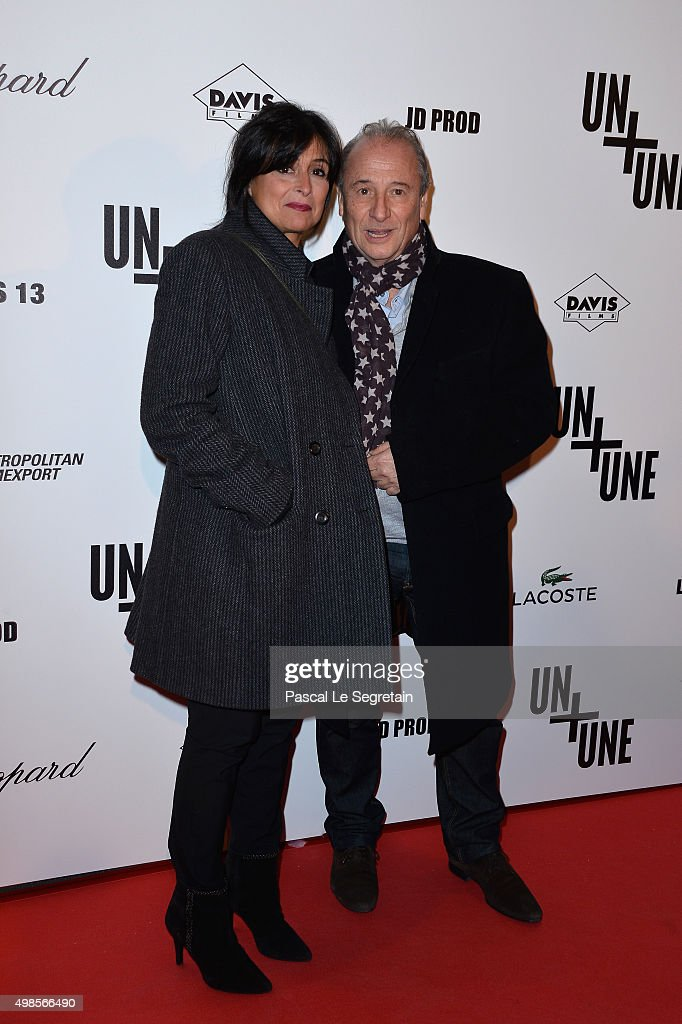 Patrick Braoude and his wife Guila attend The 'Un Une' Paris Premiere At Cinema UGC Normandie on November 23 2015 in Paris France