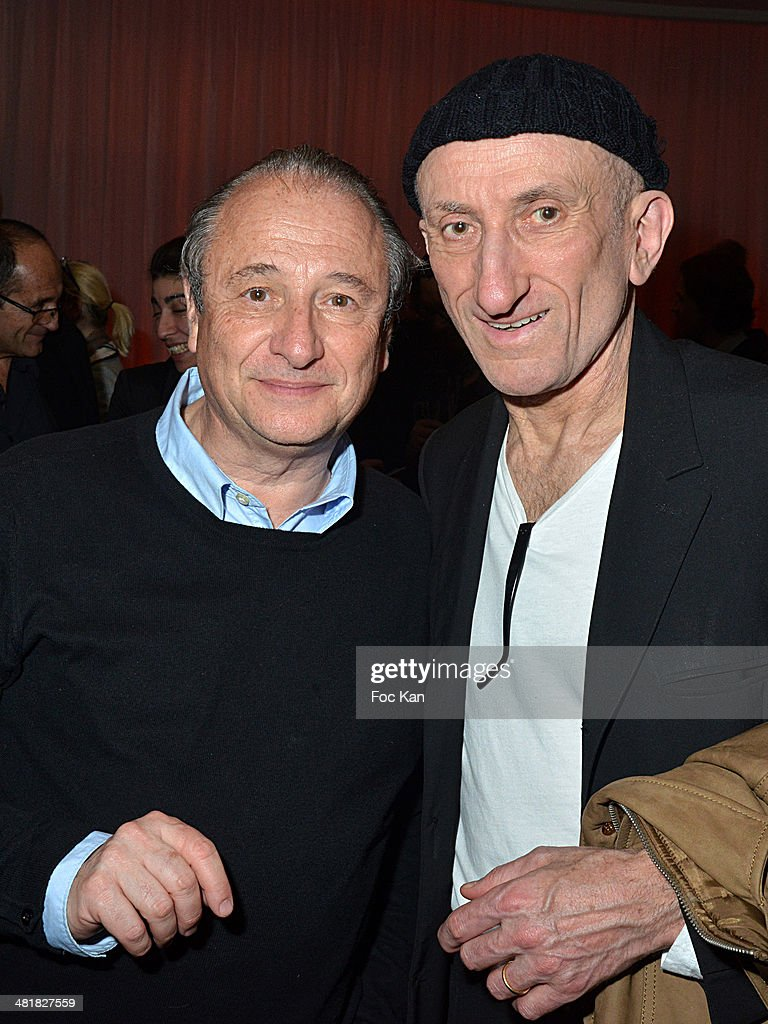 Patrick Braoude and Jean Francois Derec attend the Moma Group President Benjamin Patou receives his friend Claude Lelouch during the 'Salaud on...