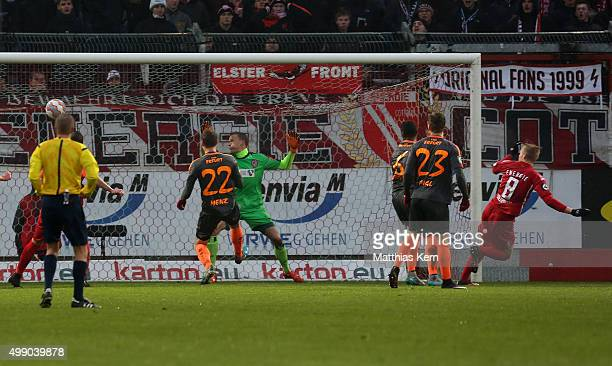 Patrick Breitkreuz of Cottbus scores the second goal during the third league match between FC Energie Cottbus and RW Erfurt at Stadion der...