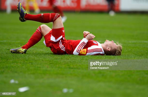 Patrick Breitkreuz of Kiel reacts during the third Bundesliga match between SV Elversberg and Holstein Kiel on March 22 2014 in Friedrichsthal Germany