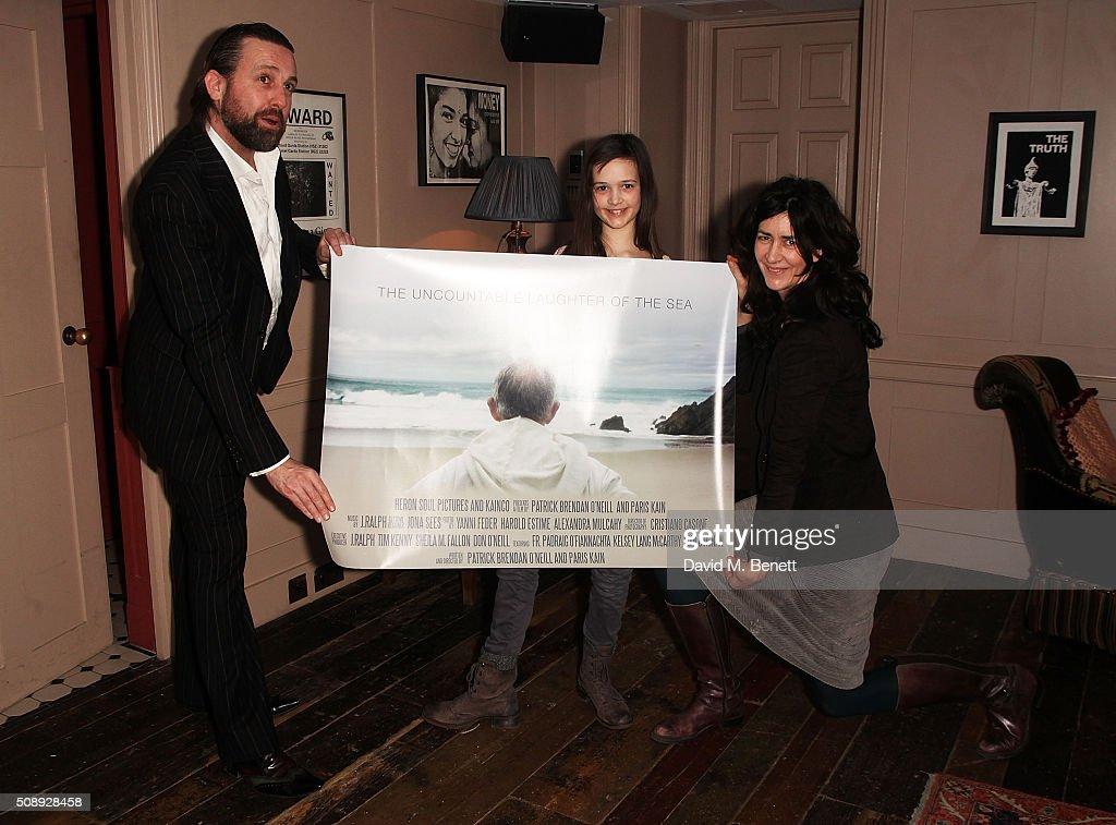 Patrick Brendan O'Neill, Isabella Barraclough and Rachel Barraclough attend a special screening of 'The Uncountable Laughter of The Sea' at Soho House Dean Street on February 7, 2016 in London, England.