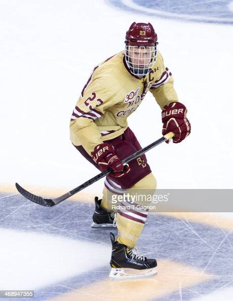 Patrick Brown of the Boston College Eagles skates against the Northeastern University Huskies during NCAA hockey action in the championship game of...