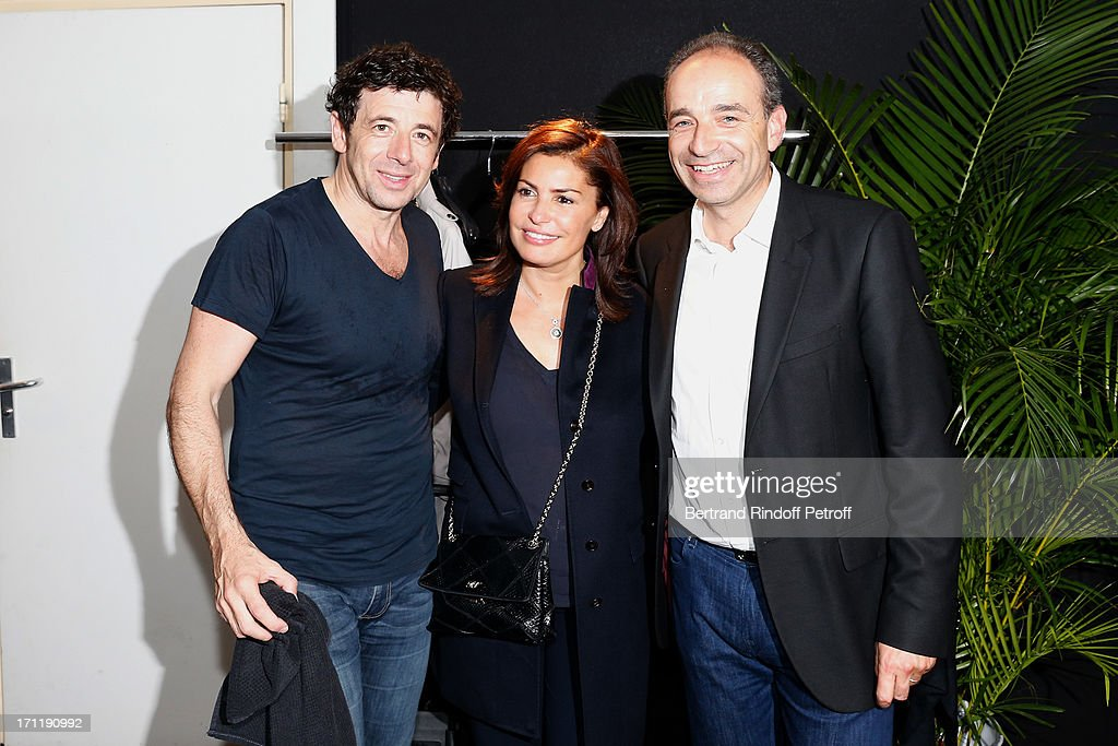 Patrick Bruel, Jean-Francois Cope with his wife backstage after the last concert in Paris of Patrick Bruel, held at Palais Omnisports de Bercy on June 22, 2013 in Paris, France.