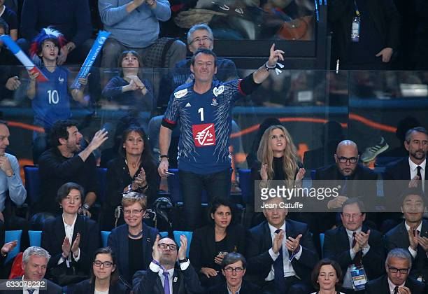 Patrick Bruel JeanLuc Reichmann and his wife Pascal Obispo and his wife Julie Hantson attend the 25th IHF Men's World Championship 2017 Final between...