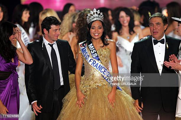Patrick Bruel Miss France 2008 and Jean Pierre Foucault in Dunkirk France on December 08th 2007