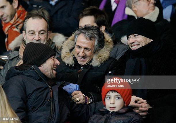 Patrick Bruel Richard Anconina and Pascal Obispo attend the French Ligue 1 between Paris SaintGermain FC and FC Girondins de Bordeaux at Parc Des...