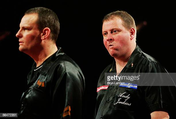 Patrick Bulen of Belgium steps up to the oche to throw against Andy Jenkins of Great Britain during the Ladbrokes World Darts Championship at The...