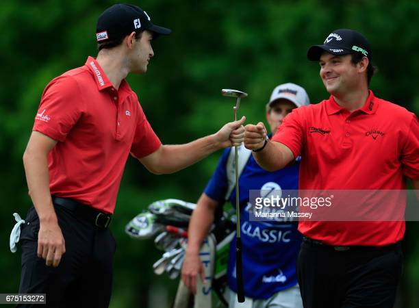 Patrick Cantlay and Patrick Reed react to their putts on the second hole during the final round of the Zurich Classic at TPC Louisiana on April 30...