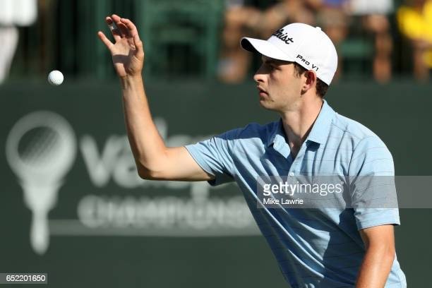 Patrick Cantlay catches his ball on the 17th green during the third round of the Valspar Championship at Innisbrook Resort Copperhead Course on March...