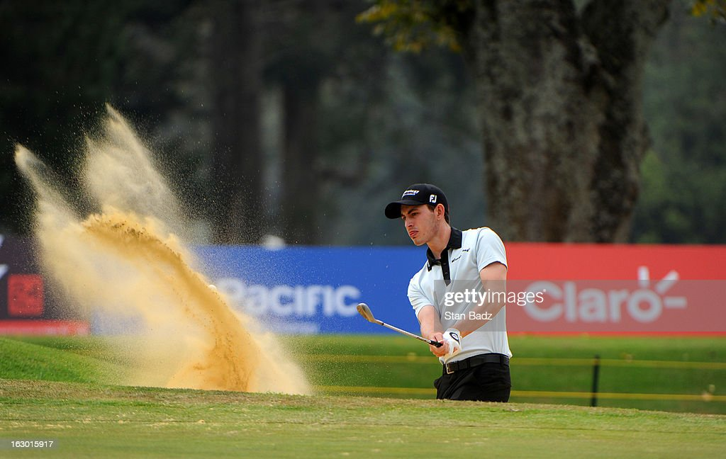 Patrick Cantlay hits a from a bunker on the fifth hole during the final round of the Colombia Championship at Country Club de Bogota on March 3, 2013 in Bogota, Colombia.