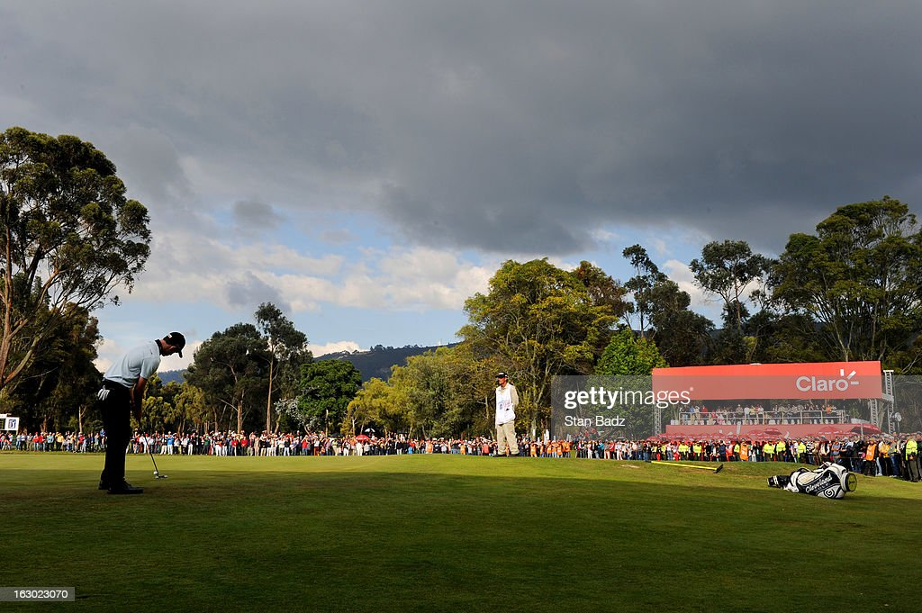 Patrick Cantlay hits a putt on the18th hole during the final round of the Colombia Championship at Country Club de Bogota on March 3, 2013 in Bogota, Colombia.