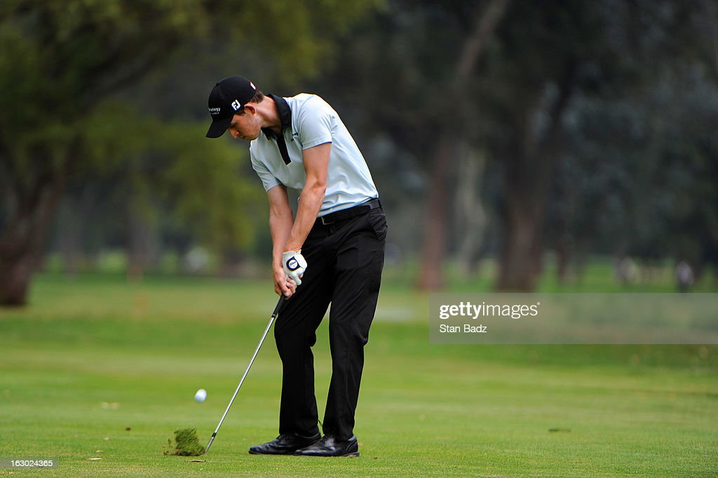 Patrick Cantlay hits a shot to the fifth green during the final round of the Colombia Championship at Country Club de Bogota on March 3, 2013 in Bogota, Colombia.