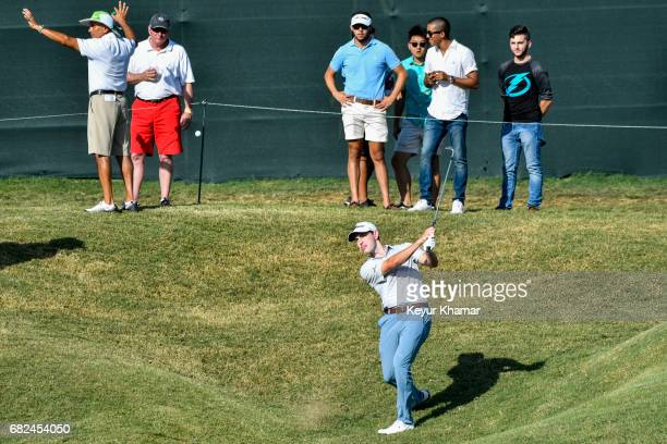 Patrick Cantlay hits a shot to the ninth hole green during the second round of THE PLAYERS Championship on the Stadium Course at TPC Sawgrass on May...