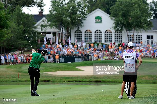 Patrick Cantlay hits his second shot on the 18th hole during the final round of the 2013 Hotel Fitness Championship at Sycamore Hills Golf Club on...