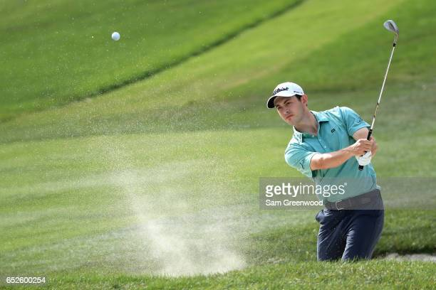 Patrick Cantlay hits out of a bunker on the 15th hole during the final round of the Valspar Championship at Innisbrook Resort Copperhead Course on...