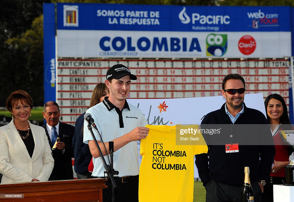 <a gi-track='captionPersonalityLinkClicked' href=/galleries/search?phrase=Patrick+Cantlay&family=editorial&specificpeople=7036378 ng-click='$event.stopPropagation()'>Patrick Cantlay</a> is presented a Colombia tee shirt during the trophy ceremony after final round of the Colombia Championship at Country Club de Bogota on March 3, 2013 in Bogota, Colombia.