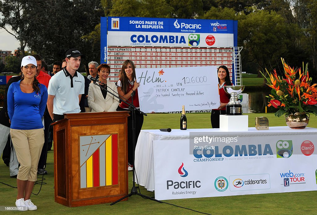Patrick Cantlay is seen during the closing ceremony on the 18th green after the final round of the Colombia Championship at Country Club de Bogota on March 3, 2013 in Bogota, Colombia.
