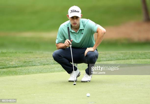 Patrick Cantlay lines up a putt on the second green during the final round of the Valspar Championship at Innisbrook Resort Copperhead Course on...