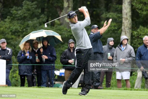 Patrick Cantlay of the United States hits from the 8th tee during the third round of the Dell Technologies Championship on September 3 at TPC Boston...