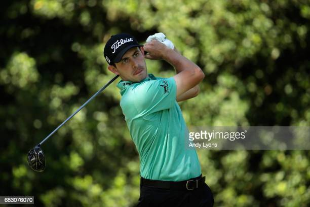 Patrick Cantlay of the United States plays his shot from the 11th tee during the final round of THE PLAYERS Championship at the Stadium course at TPC...