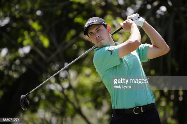 Patrick Cantlay of the United States plays his shot from the fifth tee during the final round of THE PLAYERS Championship at the Stadium course at...