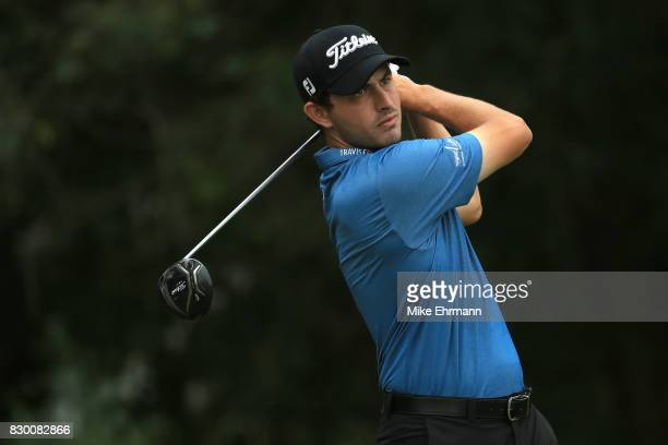 Patrick Cantlay of the United States plays his shot from the fifth tee during the second round of the 2017 PGA Championship at Quail Hollow Club on...