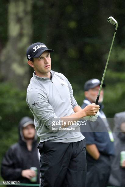 Patrick Cantlay of the United States watches his tee shot on 8 during the third round of the Dell Technologies Championship on September 3 at TPC...