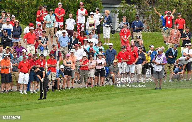 Patrick Cantlay of the United Statesplays his shot on the 16th hole during the second round of the RBC Canadian Open at Glen Abbey Golf Club on July...