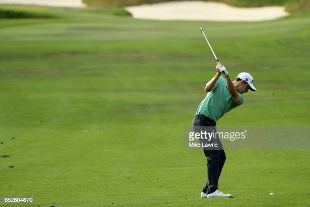 Patrick Cantlay plays a shot on the 18th hole during the final round of the Valspar Championship at Innisbrook Resort Copperhead Course on March 12...