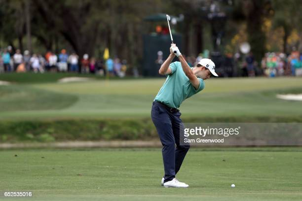 Patrick Cantlay plays a shot on the third hole during the final round of the Valspar Championship at Innisbrook Resort Copperhead Course on March 12...