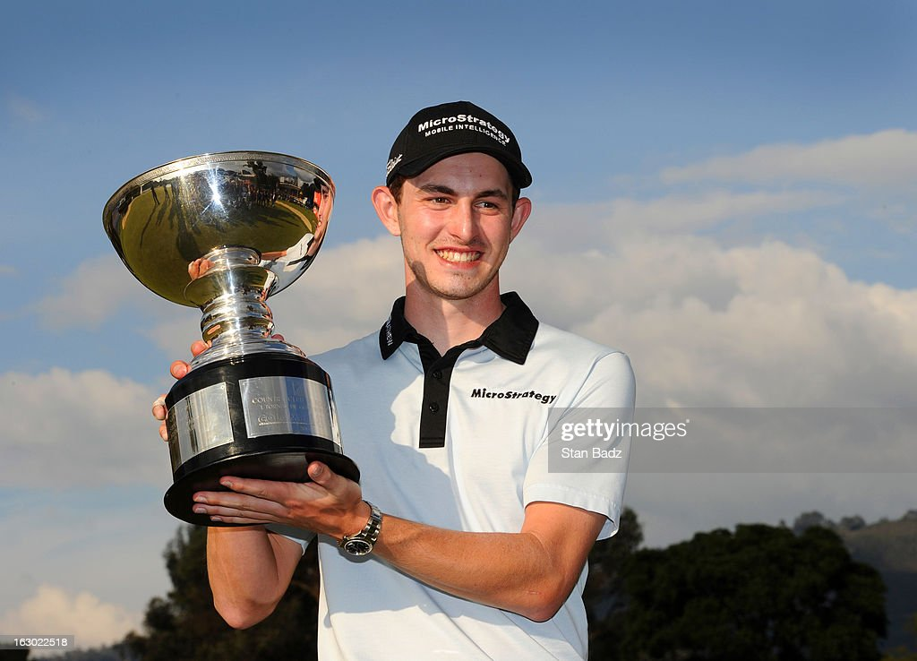 <a gi-track='captionPersonalityLinkClicked' href=/galleries/search?phrase=Patrick+Cantlay&family=editorial&specificpeople=7036378 ng-click='$event.stopPropagation()'>Patrick Cantlay</a> poses with the winner's trophy after playing the final round of the Colombia Championship at Country Club de Bogota on March 3, 2013 in Bogota, Colombia.