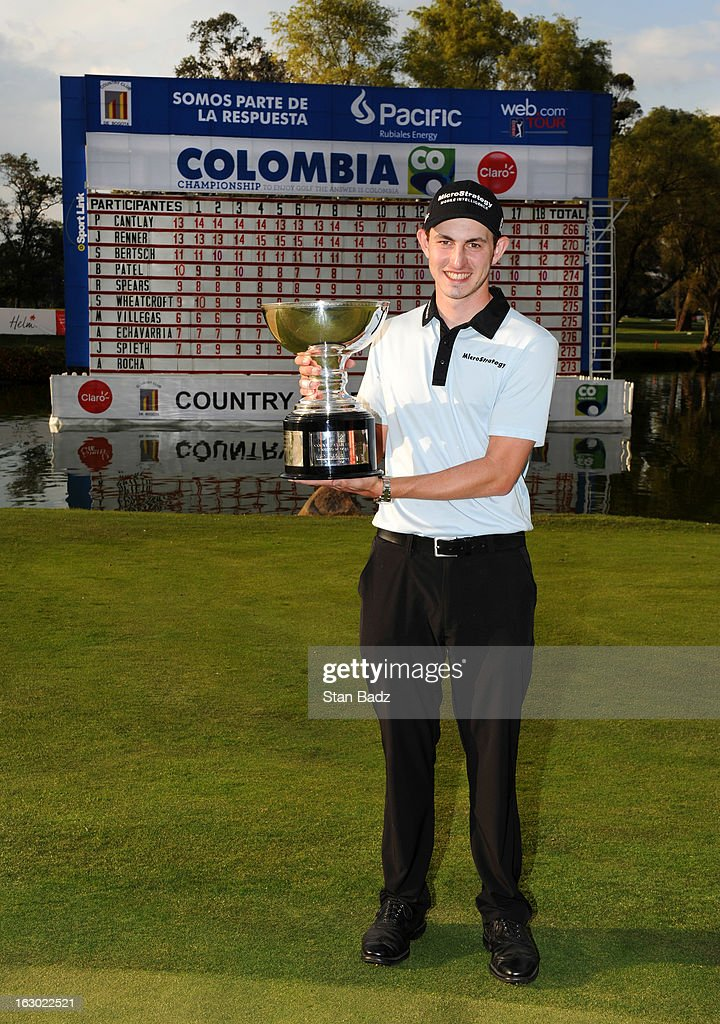 Patrick Cantlay poses with the winner's trophy after playing the final round of the Colombia Championship at Country Club de Bogota on March 3, 2013 in Bogota, Colombia.