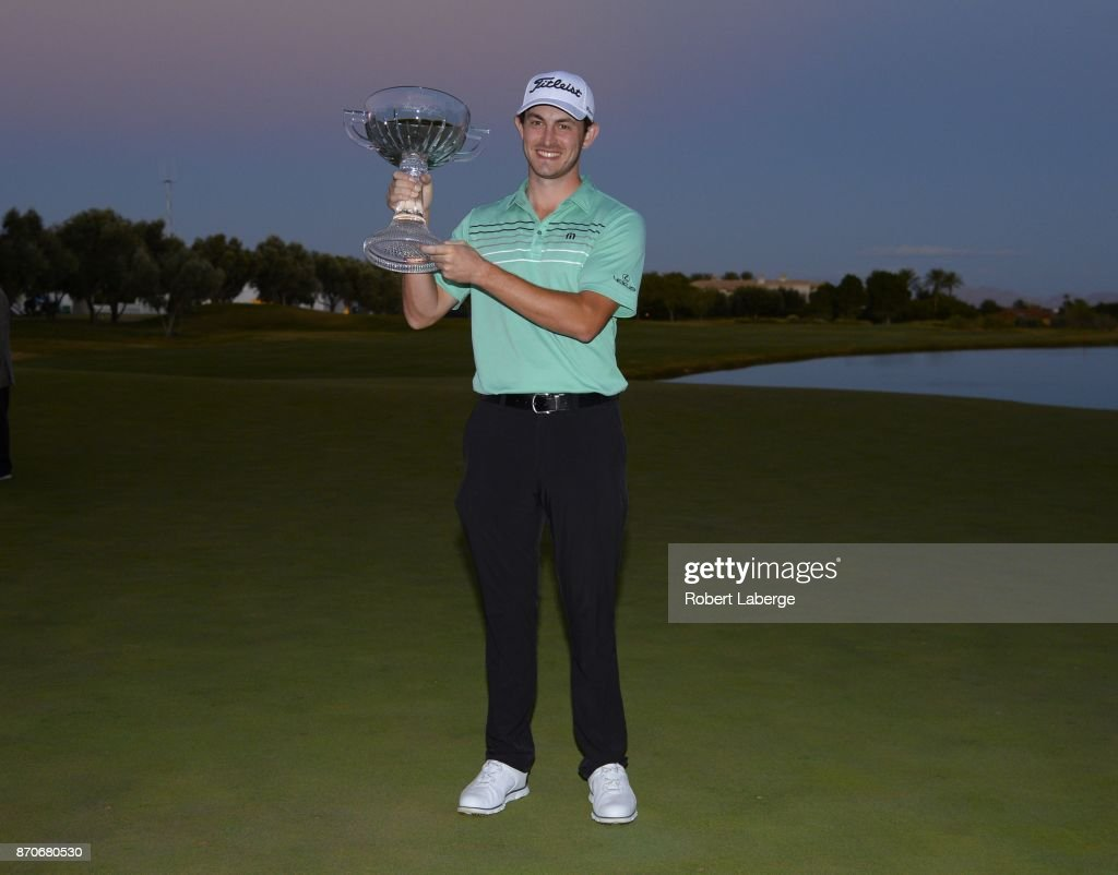 Patrick Cantlay poses with the winner's trophy after winning the Shriners Hospitals For Children Open at the TPC Summerlin on November 5, 2017 in Las Vegas, Nevada.