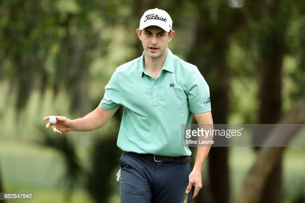 Patrick Cantlay reacts after a birdie putt on the first green during the final round of the Valspar Championship at Innisbrook Resort Copperhead...
