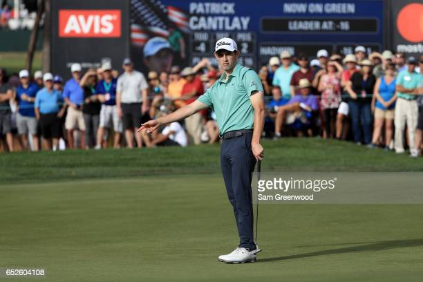 Patrick Cantlay reacts to a putt on the 16th green during the final round of the Valspar Championship at Innisbrook Resort Copperhead Course on March...
