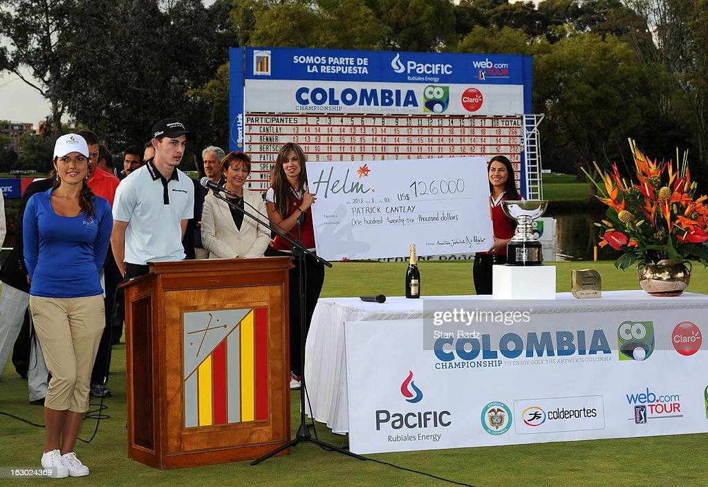 Patrick Cantlay thanks the tournament sponsors and fans during the trophy ceremony of the Colombia Championship at Country Club de Bogota on March 3, 2013 in Bogota, Colombia.