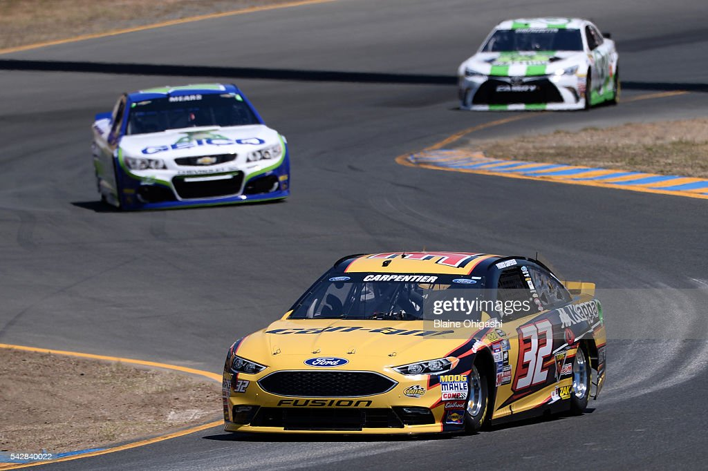 <a gi-track='captionPersonalityLinkClicked' href=/galleries/search?phrase=Patrick+Carpentier&family=editorial&specificpeople=183389 ng-click='$event.stopPropagation()'>Patrick Carpentier</a>, driver of the #32 Can-Am Ford, practices for the NASCAR Sprint Cup Series Toyota/Save Mart 350 at Sonoma Raceway on June 24, 2016 in Sonoma, California.