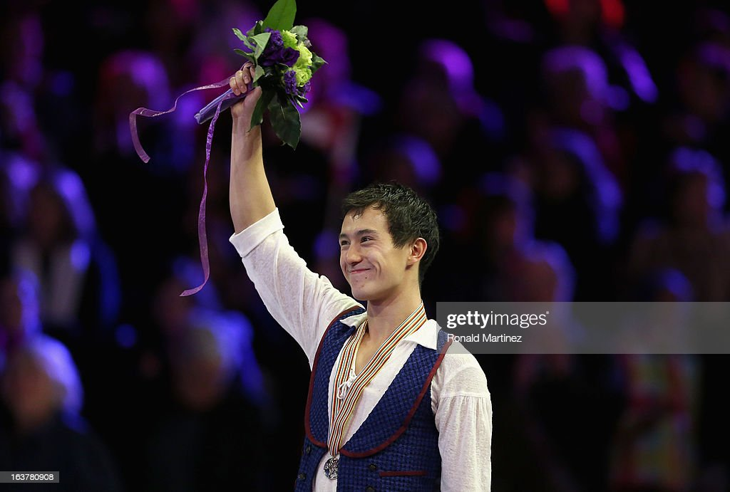 Patrick Chan of Canada celebrates after winning the gold medal in the Mens Free Skating during the 2013 ISU World Figure Skating Championships at Budweiser Gardens on March 15, 2013 in London, Canada.