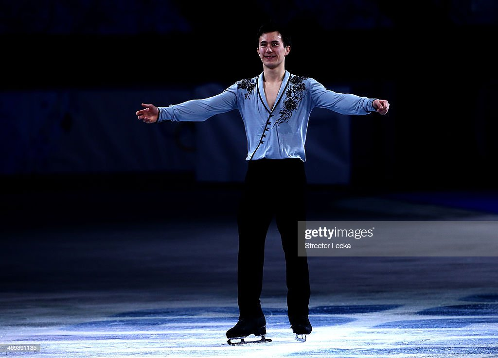 Patrick Chan of Canada celebrates after winning the silver in the Figure Skating Men's Free Skating on day seven of the Sochi 2014 Winter Olympics at Iceberg Skating Palace on February 14, 2014 in Sochi, Russia.