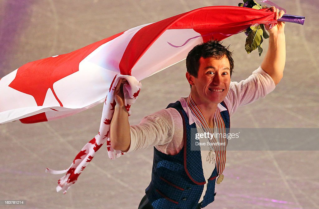 Patrick Chan of Canada celebrates his gold medal in the Mens Free Skating Program during the 2013 ISU World Figure Skating Championships at Budweiser Gardens on March 15, 2013 in London, Ontario, Canada.