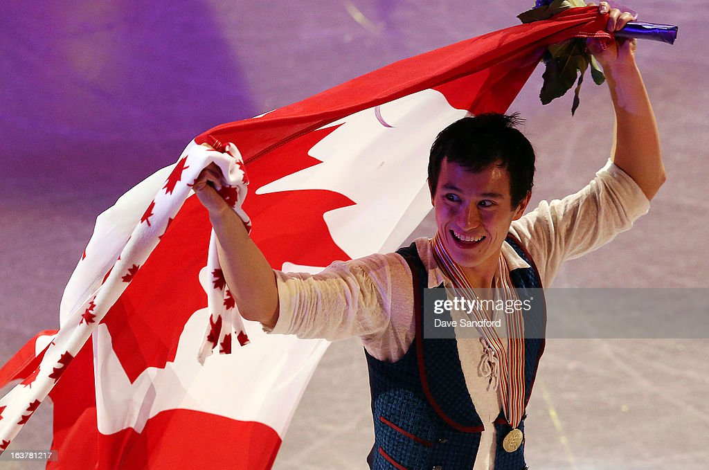 <a gi-track='captionPersonalityLinkClicked' href=/galleries/search?phrase=Patrick+Chan&family=editorial&specificpeople=4036503 ng-click='$event.stopPropagation()'>Patrick Chan</a> of Canada celebrates his gold medal in the Mens Free Skating Program during the 2013 ISU World Figure Skating Championships at Budweiser Gardens on March 15, 2013 in London, Ontario, Canada.