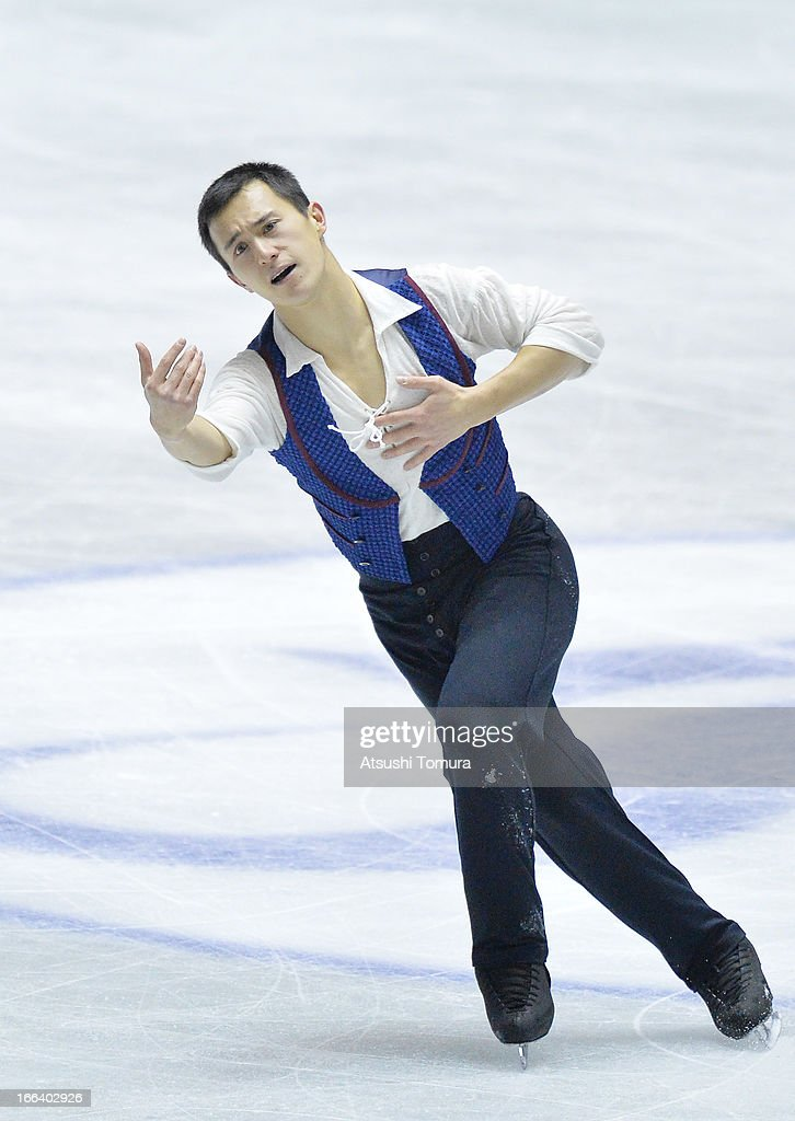 <a gi-track='captionPersonalityLinkClicked' href=/galleries/search?phrase=Patrick+Chan&family=editorial&specificpeople=4036503 ng-click='$event.stopPropagation()'>Patrick Chan</a> of Canada competes in the men's free program during day two of the ISU World Team Trophy at Yoyogi National Gymnasium on April 12, 2013 in Tokyo, Japan.